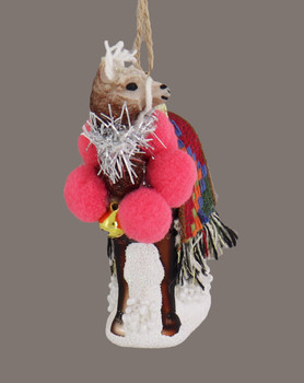 Decorated Peruvian Llama Glass Ornament pink poms side view