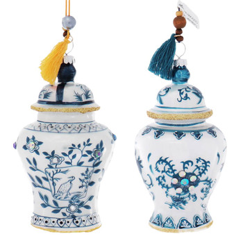 2 pc Blue and White Jeweled Ginger Jars Glass Ornaments SET