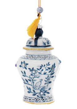 2 pc Blue and White Jeweled Ginger Jars Glass Ornaments SET Yellow Tassel Front