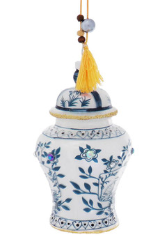Jeweled Blue and White Ginger Jars Glass Ornament - Gold Tassel Side