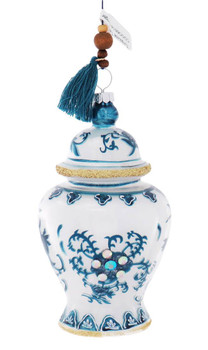 Jeweled Blue and White Ginger Jar Glass Ornament - Turquoise Tassel,