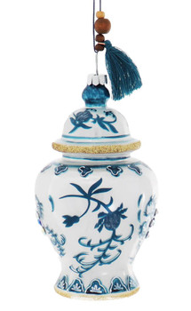 Jeweled Blue and White Ginger Jar Glass Ornament - Turquoise Tassel, Side