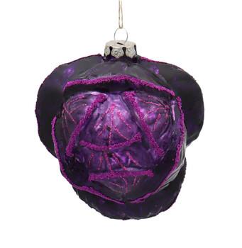 Purple Cabbage Glass Ornament