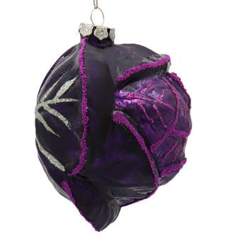 Purple Cabbage Glass Ornament Right Side