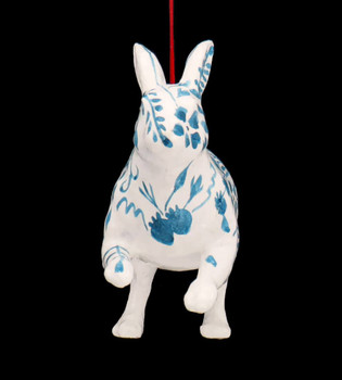 Large Blue White Chinoiserie Rabbit Glass Ornament Front