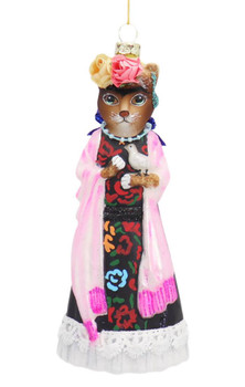 Frida Dressed Up Lady Cat with Bird Glass Ornament