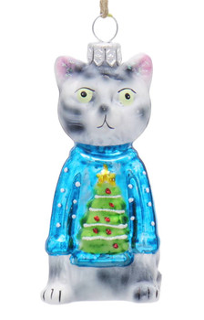 3 pc Christmas Kitty Cat Glass Ornaments SET Blue Sweater Front