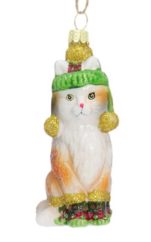 Boots and Hat Orange Kitty Cat Glass Ornament