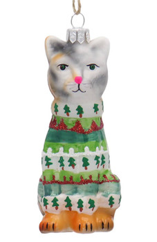 Ugly Christmas Sweater Calico Kitty Cat Glass Ornament