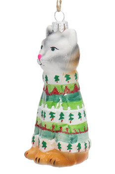 Ugly Christmas Sweater Calico Kitty Cat Glass Ornament Left Side