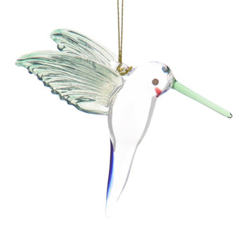 Clear with Light Wings Hummingbird Mouth-Blown Egyptian Glass Ornament