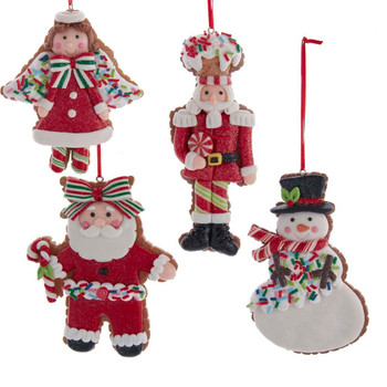 """4 pc Winter Holiday Cut Out Cookie Ornaments SET, 4 1/4 - 5 3/8"""", KAD3880"""