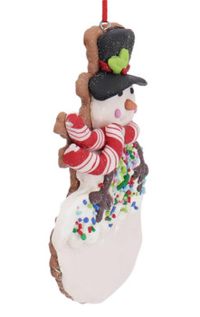 Winter Holiday Cut Out Snowman Cookie Ornament Side