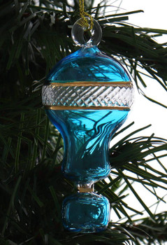 Small Hot Air Balloon Mouth-Blown Egyptian Glass Ornament Teal Garland