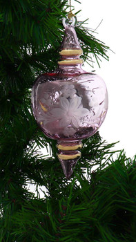 Etched Flower Semi-Round Egyptian Glass Ornament - Pink garland view 1