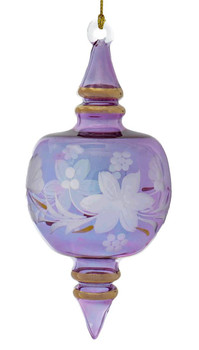 Etched Flower Semi-Round Egyptian Glass Ornament - Purple