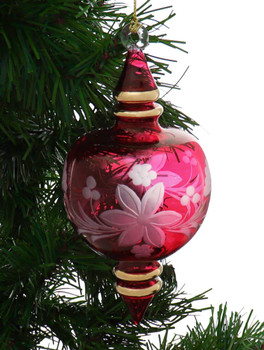 Etched Flower Semi-Round Egyptian Glass Ornament - Red-Pink garland view 1