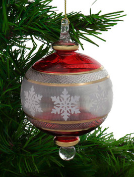 Red with Snowflakes Egyptian Glass Ornament garland
