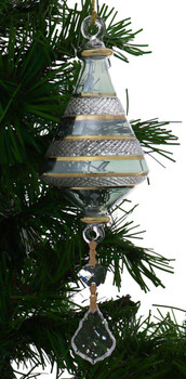 Etched Dual Cone Egyptian Glass Ornament with crystals - Green Garland 1