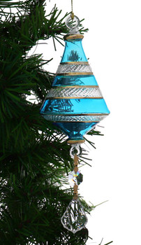 Dual Cone Egyptian Glass Ornament - Teal Blue Garland View 1