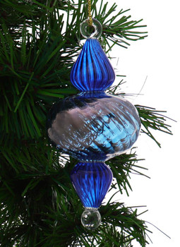 Organic Luster Two-Tone Ribbed Egyptian Glass Ornament - Blue garland view 1