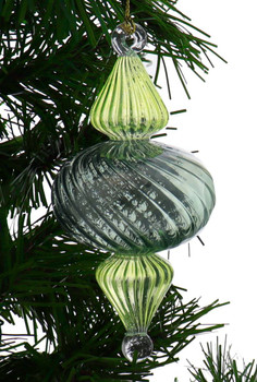 Organic Luster Two-Tone Ribbed Egyptian Glass Ornament - Green Garland View 1