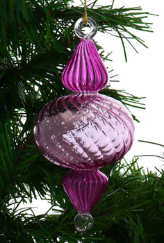 Organic Luster Two-Tone Ribbed Egyptian Glass Ornament - Pink Garland 1