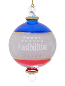 Dated 2021 Possibilities Patriotic Egyptian Glass Ornament Front