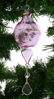 Grape Clusters Egyptian Glass Ornament - Pink garland