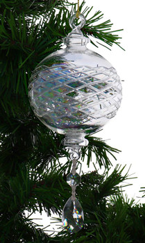 Clear Iridescent Round Etched Egyptian Glass Ornament with Crystal Drop Garland 1