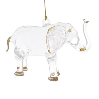 Standing Elephant Egyptian Glass Ornament - Clear