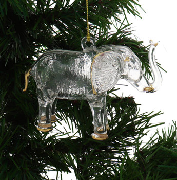 Standing Elephant Egyptian Glass Ornament - Clear Garland