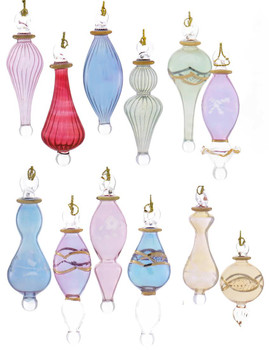 12 pc Miniature Gold Plated Egyptian Glass Ornaments SET