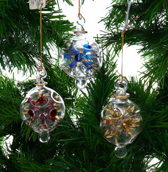 3 pc Small Starburst Egyptian Glass Ornaments SET on garland