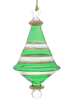 Etched Dual Cone Egyptian Glass Ornament - Green