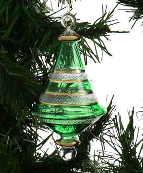 Etched Dual Cone Egyptian Glass Ornament - Green Garland