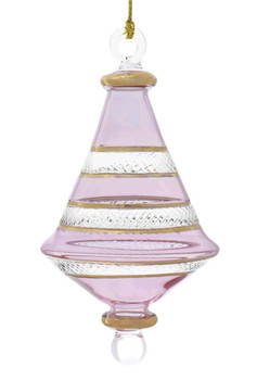 Etched Dual Cone Egyptian Glass Ornament - Tinted Pink