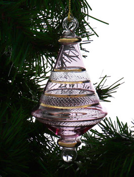Etched Dual Cone Egyptian Glass Ornament - Tinted Pink garland 1