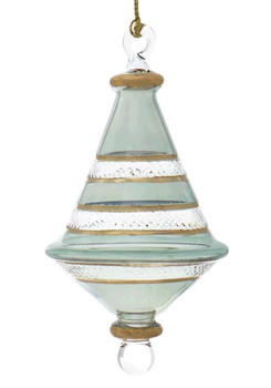 """Etched Dual Cone Egyptian Glass Ornament - Tinted Green, 4 7/8"""", EM16034"""