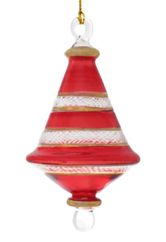 Etched Dual Cone Egyptian Glass Ornament - Red