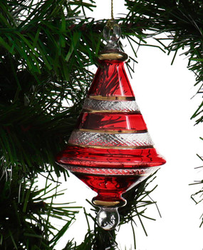Etched Dual Cone Egyptian Glass Ornament - Red Garland