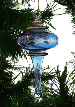 Finial Egyptian Glass Ornament - Blue Garland 1