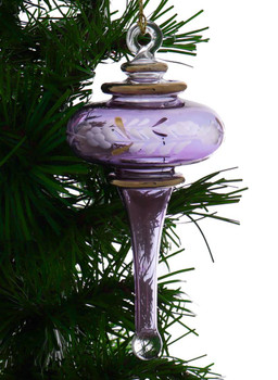 Long Finial Egyptian Glass Ornament - Purple Garland View 1