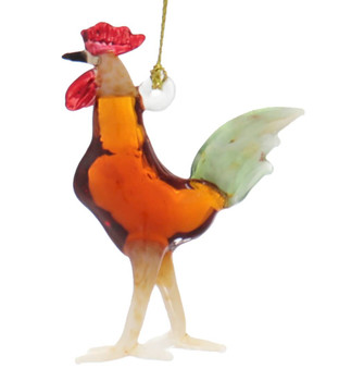 Brown Rooster Egyptian Glass Ornament Side