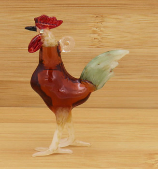 Brown Rooster Egyptian Glass Ornament Wood Background Side