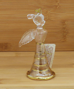 Pony Tail Angel Egyptian Glass Ornament - Yellow Wood Background
