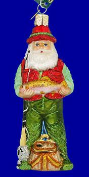Fly Fishing Santa Old World Christmas Glass Ornament 40209