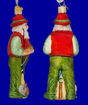 Fly Fishing Santa Old World Christmas Glass Ornament 40209 inset