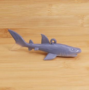 Glazed Grey Shark Egyptian Glass Ornament Wood Background Side