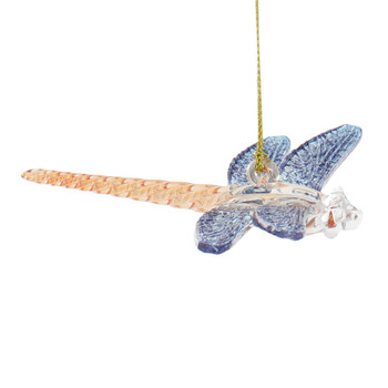 Dragonfly Mouth-Blown Egyptian Glass Ornament - Blue - Orange Right Side